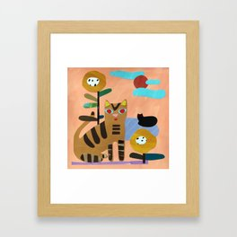 Cats on the Lawn Framed Art Print
