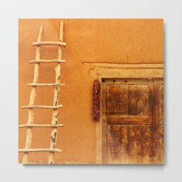 Adobe With Ladder And Ristra - Iconic Southwest Metal Print