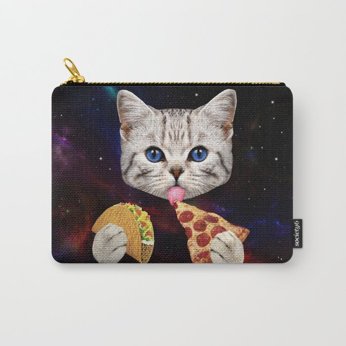 Space Cat with taco and pizza Carry-All Pouch