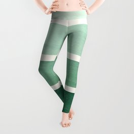 Deep Green Minimalist Watercolor Mid Century Staggered Stripes Rothko Color Block Geometric Art Leggings