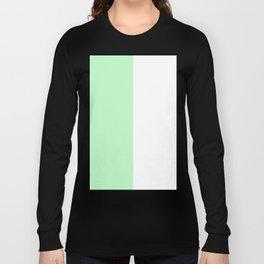 White and Light Green Vertical Halves Long Sleeve T-shirt