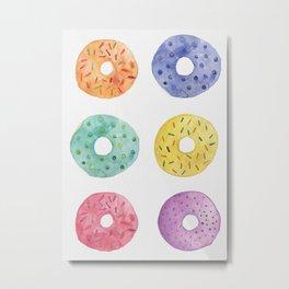 Watercolor Donut Pattern Metal Print