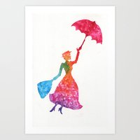 mary poppins Art Prints featuring Mary Poppins by Suzieque