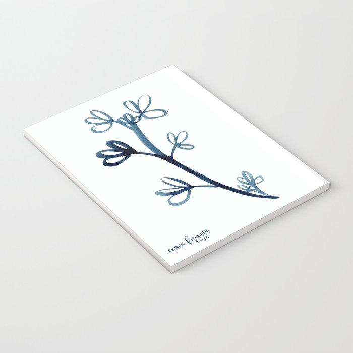 Deep Blue Botanical Watercolor Painting by Emma Freeman Designs Notebook