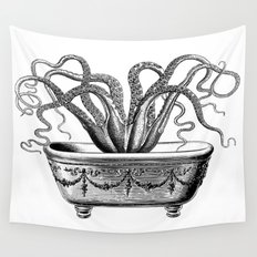 Tentacles in the Tub | Octopus | Black and White Wall Tapestry