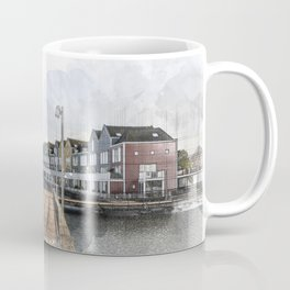 Rainbow Houses. Architectural watercolor and ink drawing Coffee Mug