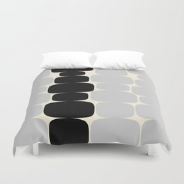 Abstraction_Balance_ROCKS_BLACK_WHITE_Minimalism_001 Duvet Cover