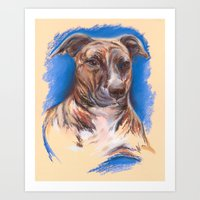 pit bull Art Prints featuring Brindle Pit Bull Portrait by M.M. Anderson Designs