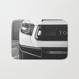 """TOY"" Tundra // Black and White Monster Truck Geared Out Big Wheels Matte Black Grille Bath Mat"