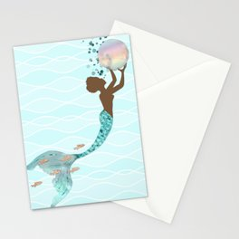 Beautiful Black Mermaid Stationery Cards