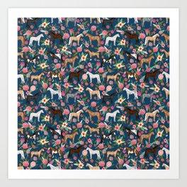 Horse Florals - navy Art Print