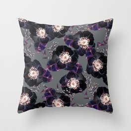 Night Rose Black + Gray Purple Throw Pillow