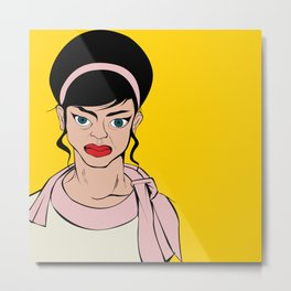 Retro looking angry woman. Pop Art. Metal Print