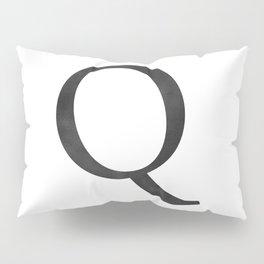Letter Q Initial Monogram Black and White Pillow Sham