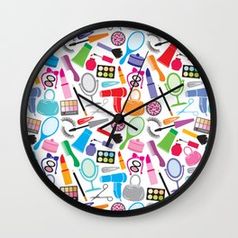 make up collection background (seamless pattern, beauty and makeup design) Wall Clock