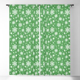 Christmas Green Snowflake Pattern Blackout Curtain