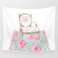 shabby chic Wall Tapestries featuring Shabby Chic Rug and French Chair by KarenHarveyCox