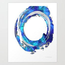 Blue And White Abstract Art - Swirling 1 - Sharon Cummings Art Print