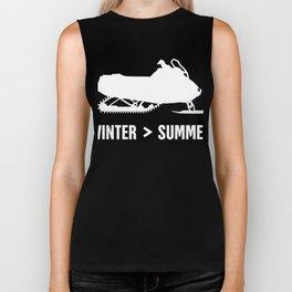 Winter And Summer - Funny Snowmobile Design Biker Tank