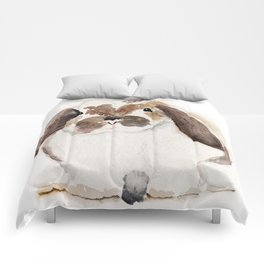 Bunny Watercolor (Flop Eared Bunny) Comforters