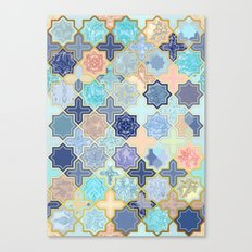 Cream, Navy and Aqua Geometric Tile Pattern Canvas Print