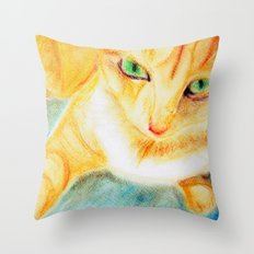 Mango Kitty Throw Pillow
