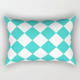 Large Diamonds - White and Turquoise Rectangular Pillow