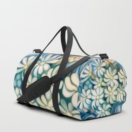 """""""Retro Vintage Bouquet of White and Blue Flowers"""" Duffle Bag"""