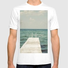 Mint Lake Escape  MEDIUM Mens Fitted Tee White
