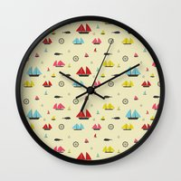 boats Wall Clocks featuring Boats by Annika Bäckström