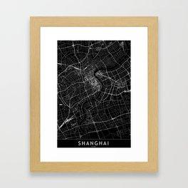 Shanghai Black Map Framed Art Print