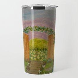 Beyond The Gate Acrylic Painting by Rosie Foshee Travel Mug