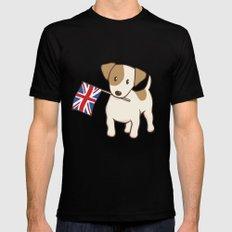 Jack Russell Terrier and Union Jack Illustration Mens Fitted Tee Black MEDIUM