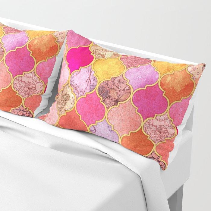 Hot Pink, Gold, Tangerine & Taupe Decorative Moroccan Tile Pattern Pillow Sham