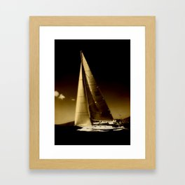 sailboat sailing in storm Framed Art Print