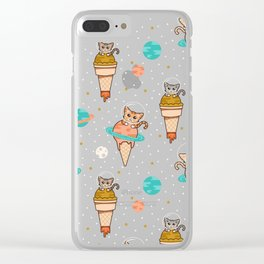 Cats Floating on Ice Cream in Space Clear iPhone Case