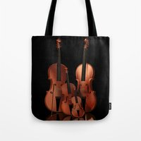 the mortal instruments Tote Bags featuring String Instruments by Simone Gatterwe