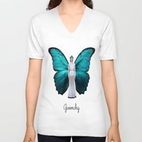 givenchy V-neck T-shirts featuring Papilio Givenchy Unframed by GirlAnnachronism