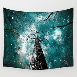 Wintry Trees Galaxy Skies Teal Wall Tapestry