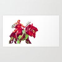 he man Art Prints featuring he-man by BzPortraits