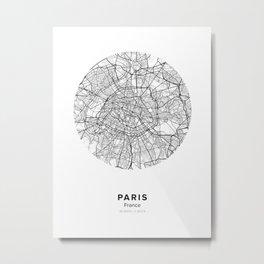 Paris Circular Map Metal Print