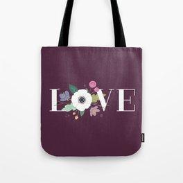 Floral Love - Plum Tote Bag