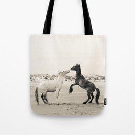 Wild Horses 4 - Black and White Tote Bag