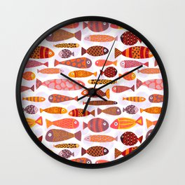 School of tropical fish pattern Wall Clock