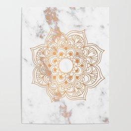 Copper flower mandala - marble Poster