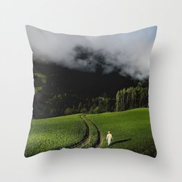 mountains, green, spring, fresh, nature, clouds, photography, art Throw Pillow