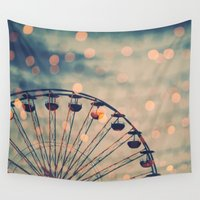 ferris wheel Wall Tapestries featuring Ferris Wheel by Juste Pixx Photography