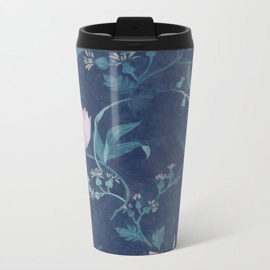 Pink tulips pattern on a dark background Metal Travel Mug