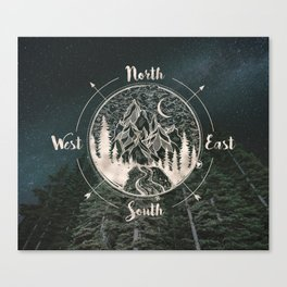 Mountains Compass Milky Way Woods Gold Canvas Print