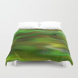 Waves of Abstraction (olive-apple-avocado green) Duvet Cover